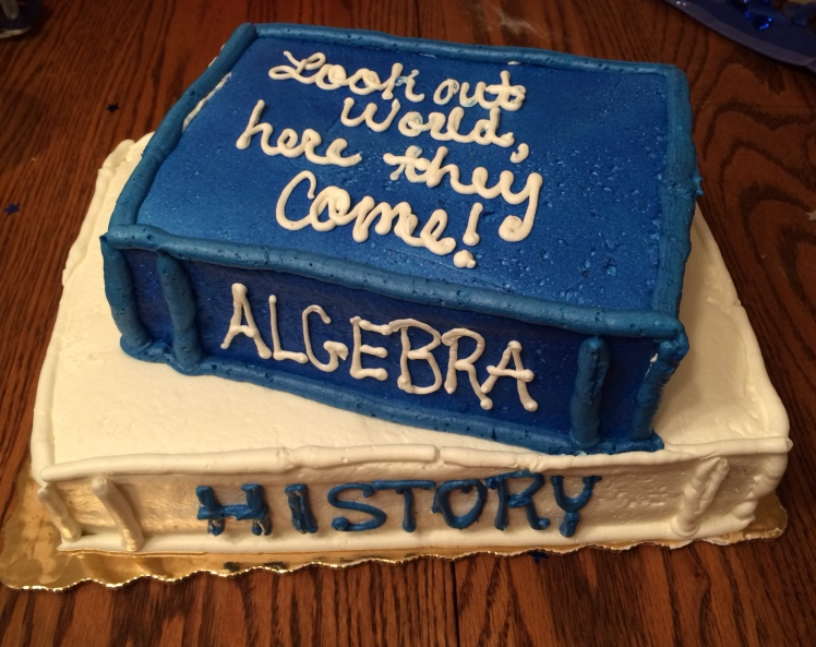 "Cake for my son and his girlfriend's ""completed 13 years of school party."""